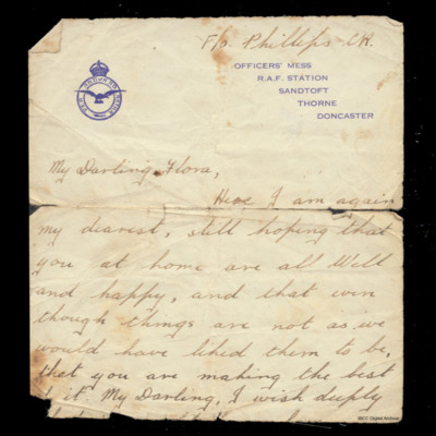 Part of letter from C R Phillips to his wife Flora